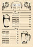 Beer menu design template.Vector pub, restaurant card with hand sketched lager,ale illustrations. Brewery elements icons Stock Photography