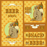 Beer menu design with various elements Stock Photos