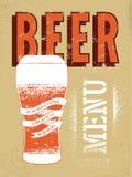 Beer menu design. Vintage grunge style beer poster. Vector illustration. Stock Images