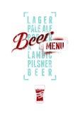 Beer menu design. Vintage grunge style beer poster. Vector illustration. Royalty Free Stock Photo