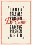 Beer menu design. Vintage grunge style beer poster. Vector illustration. Royalty Free Stock Photo