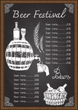 Beer menu drink menu on chalkboard template Royalty Free Stock Photography