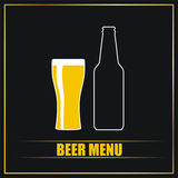 Beer menu. Illustration of beer menu with glass and bottle Stock Photos