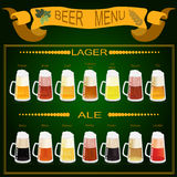 Beer menu set, creating your own infographics Royalty Free Stock Images