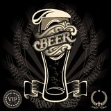 Beer menu. Vector glass of beer on a black background for the menu Stock Photography