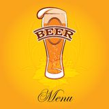 Beer menu. Vector glass of beer on a yellow background for the menu Royalty Free Stock Images