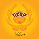 Beer menu. Vector glass of beer on a yellow background for the menu royalty free illustration