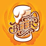 Beer menu. Vector glass of beer on a yellow background for the menu Stock Images