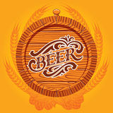 Beer menu. Vector glass of beer on a yellow background for the menu Stock Photos