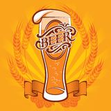 Beer menu. Vector glass of beer on a yellow background for the menu Stock Photo