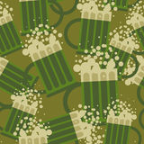 Beer military pattern. Mug alcohol army texture. Royalty Free Stock Images