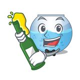 With beer miniature bowl aquarium in shape mascot royalty free illustration