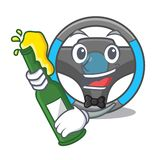 With beer miniature steering wheel in cartoon shape vector illustration