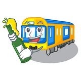 With beer miniature subway train cartoon above table vector illustration