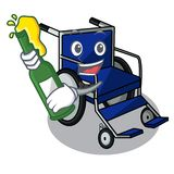 With beer miniature wheelchair the shape of mascot vector illustration