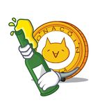 With beer Monacoin mascot cartoon style. Vector illustration Royalty Free Stock Photos