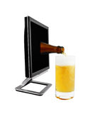 Beer from monitor being pour on a glass Stock Image