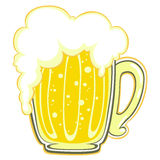 Beer mug. For thirsty ones shining in the evening. Illustration like from comic books - pure fun Royalty Free Stock Photos