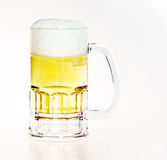 Beer in Mug. Beer mug filled with fresh golden draft beer with a head - plenty of white space for logo or text Stock Images