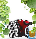 Beer mug and accordion with hops Royalty Free Stock Photo