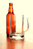 Beer mug and Beer Bottle Royalty Free Stock Images