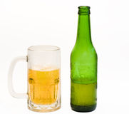 Beer mug and bottle Royalty Free Stock Images