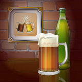 Beer mug, bottle, brick wall. Two mugs of beer in the frame. Vector. Beer pub. Beer mug, bottle, brick wall. Two mugs of beer in the frame. Vector Royalty Free Stock Images