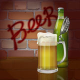 Beer mug, bottle, brick wall, the word beer. Vector. Mug of beer and a bottle on the background of a brick wall that says beer Stock Photo
