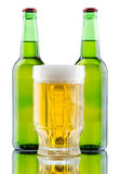 Beer mug and bottle  on white background Stock Images