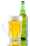 Beer mug and bottle  on white background Royalty Free Stock Photos