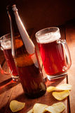 Beer mug and bottles Royalty Free Stock Images