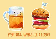 Beer mug and burger cartoon watercolor illustration t for poster. S and cards on blue background with wish Royalty Free Stock Photo