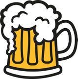 Beer mug cartoon style. Beer mug cartoon with foam Stock Photo