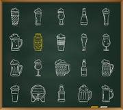 Beer Mug chalk draw line icons vector set vector illustration