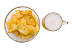 Beer mug with chips from above Stock Image