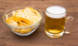 Beer mug with chips of wood Royalty Free Stock Photography