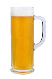 A beer mug of classic light beer. Refreshing light beer on a white background. Toby jug. Royalty Free Stock Photography