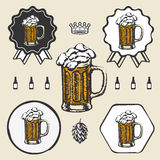 Beer mug cup vintage retro symbol emblem label Royalty Free Stock Photos