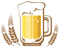 Beer mug and ear. Beer glass and wheat ears isolated on a white background Royalty Free Stock Images
