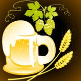 Beer of mug  with foam on the black background. Royalty Free Stock Image
