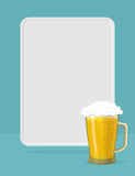 Beer mug with foam. frame for text. Royalty Free Stock Photography