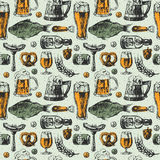 Beer mug and food products seamless pattern vector background with fish, drink in glass.  Stock Image