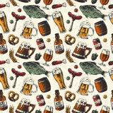 Beer mug and food products seamless pattern vector background with fish, drink in glass.  Stock Photos