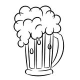 Beer mug froth sketch isolated. On white Stock Photos