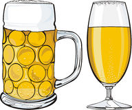 Beer mug and glass Royalty Free Stock Image