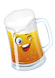 Beer_mug. Beer glass mug with foam cartoon character smiling funny Stock Image