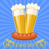 Beer mug glass with foam filled to the brim. Oktoberfest beer festival, beer mug glass with foam filled to the brim,octoberfest pubs. Vector illustration in flat Royalty Free Stock Photos