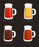 Beer mug or glass goblet, isolated icons. Beer mug or glass goblet, tankard isolated icons. Foam over bock strong beer and marzen, schwarzbeer and dortmund beer Stock Image