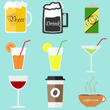 Beer mug. Glass of juice, a glass of wine. Flat design, vector illustration, vector royalty free illustration
