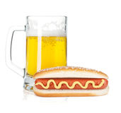 Beer mug and grilled sausages Royalty Free Stock Photo